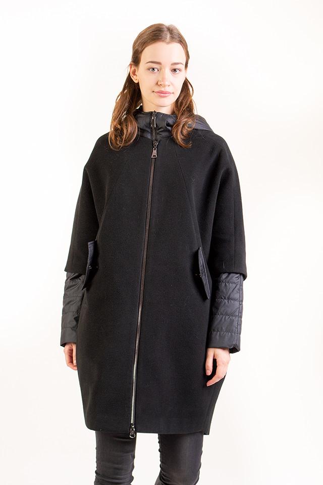 Современное женское пальто чёрного цвета  на молнии рукав и капюшон съёмные