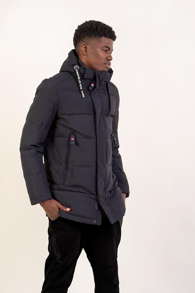 Пуховик мужской стеганый синего цвета, мужская зимняя куртка на тинсулейте, мужской пуховик прямого кроя с капюшоном.
