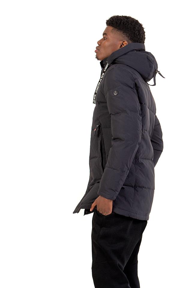Зимняя мужская куртка с капюшоном, пуховик мужской на тинсулейте, синяя мужская куртка прямого кроя.